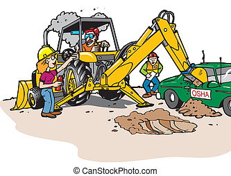 backhoe - A backhoe operator not paying attention hitting a...