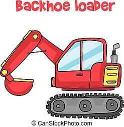backhoe, vetorial, arte, caricatura, carregador