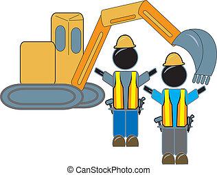backhoe, werkmannen , bouwsector