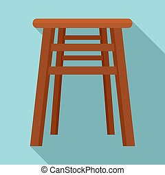 Backless chair icon. Flat illustration of backless chair icon for web design