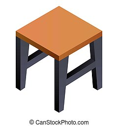 Backless stool icon. Isometric of backless stool icon for web design isolated on white background