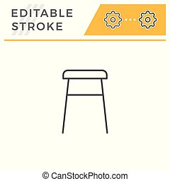 Backless stool line icon isolated on white. Editable stroke. Vector illustration