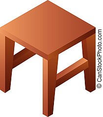 Backless wood chair icon, isometric style