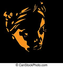 backlight., donna, silhouette, illustrazione, africano, ritratto