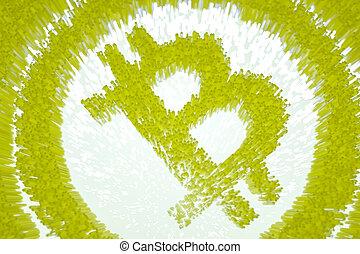 backlight., fait, symbole, bitcoin, illustration, incandescent, cubes, pixelated, 3d