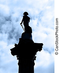 backlight of the statue of Admiral Nelson