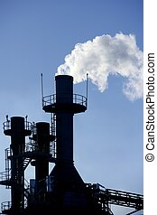Backlight petrochemical industry smoke sky