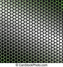 backlight., résumé, métal, hexagones, arrière-plan vert
