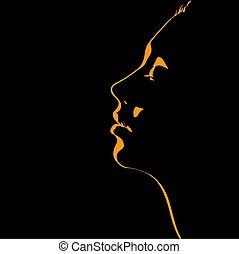 backlight., s, mulher, silueta, rosto