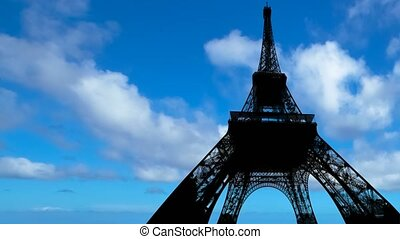 backlight time-lapse of Tour Eiffel - Time-lapse of backlit...