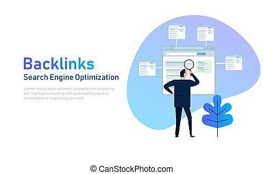 backlinks, concept., イラスト, リンク, seo, ∥あるいは∥, 建物。