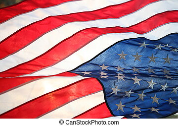 Backlit American flag - The flag of the United States of...