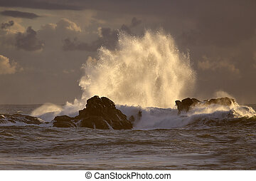 Backlit big wave splash at sunset