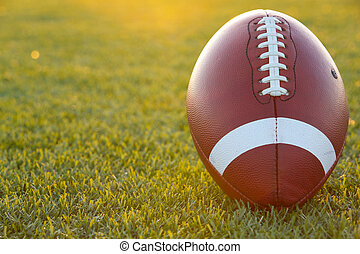 Backlit Collegiate Football - American Football on the Field...