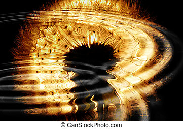 backlit Dandelion reflected in water with ripples.