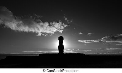 Backlit of Moai with Pukao in Rapa Nui at sunset