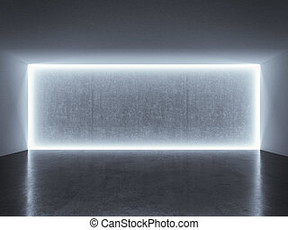 backlit photo studio wall with blue light. 3d render