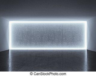 backlit photo studio wall with blue light. 3d render
