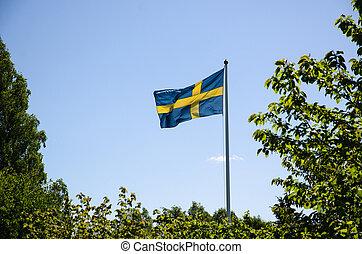 Backlit swedish flag