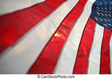 Backlit USA flag vertical - The flag of the United States of...