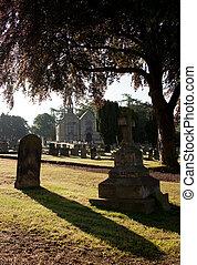 backlit, vista, de, lápidas, con, iglesia