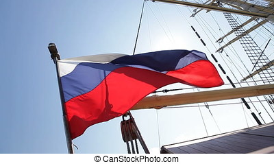 Backlit Waving Ensign Russian Flag - Russian ensign flag...