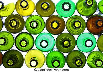 backlited bottles - stack of assorted empty wine bottles...