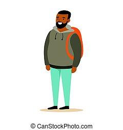 backpack., あごひげを生やしている, カラフルである, 特徴, 若い, イラスト, 灰色, ベクトル, 黒, hoodie, 微笑, 漫画, 人