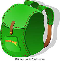 backpack., ベクトル, 緑, イラスト