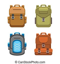 Backpack Bag Flat Style Set. Vector illustration