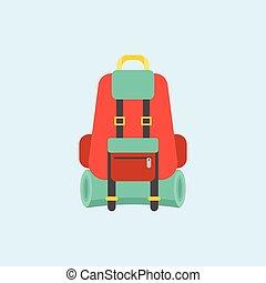 backpack bag icon, flat design vector illustration
