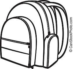(backpack, bolsa, escuela, bag), paquete