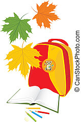 Backpack, book and maple leaves - Backpack, book and...