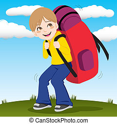 Backpack Boy - Little kid walking outdoors carrying a huge...