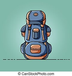 Backpack colorful icon. Flat design vector illustration