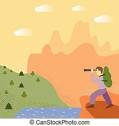 backpack., concept, explorateur, like., voyageur, voyage, forest., stand, aventure, tourism., homme, regarde