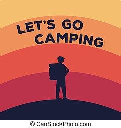 backpack., concetto, silhouette, turista, campeggio, illustrazione, vettore, viaggiatore, casato