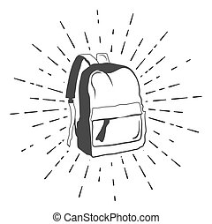 Backpack. Doodle Sketch. Vector Illustration Isolated on White Background