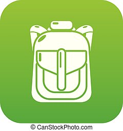 Backpack element icon green vector