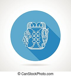 Backpack flat line vector icon