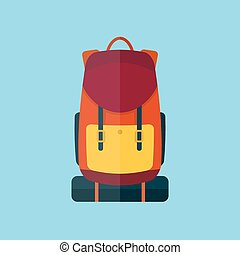 Backpack flat style vector illustration icon
