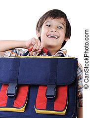 Backpack for school, in hands of kid