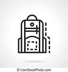 Backpack for school simple line vector icon