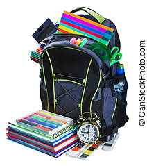 backpack for school stationery learning isolated