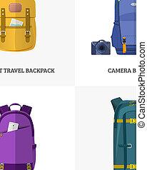 Backpack for travel. Flat design.