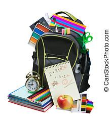 Backpack full of school supplies - Backpack full of school...