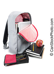 Backpack full of school supplies. o
