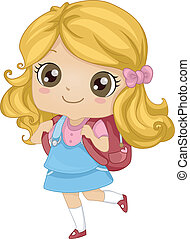 Backpack Girl - Illustration Featuring a Girl Carrying a...