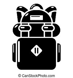 Backpack hiking icon, simple black style - Backpack hiking...