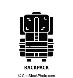 backpack icon, black vector sign with editable strokes, concept illustration